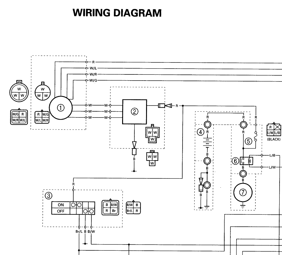 sample3 yamaha yfm350xp warrior atv wiring diagram and color code Kodiak 400 Service Manual at gsmx.co